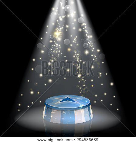 Circus Show Pedestal Podium With Sparkling Star Light Or Spotlight Shine. Vector Big Top Circus Perf