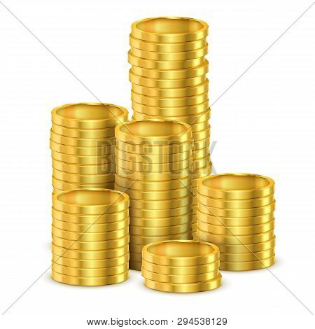 Realistic Stack Of Golden Money Or Stack Of 3d Coins Made Of Gold. Tower Of Casino Dollar Cash Or Pi