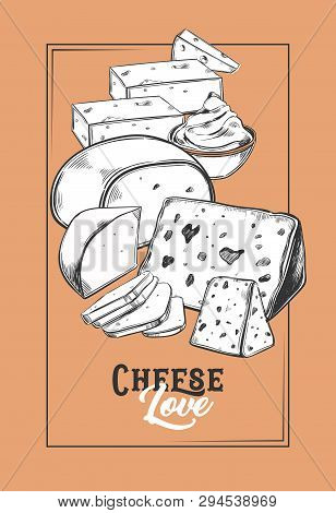 Sketch For Cheese Banner. Vegetarian Food Badge. Porous Product Sign For Store Or Shop, Market Logo.