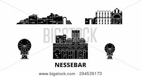 Bulgaria, Nessebar Flat Travel Skyline Set. Bulgaria, Nessebar Black City Vector Illustration, Symbo
