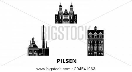 Czech Republic, Pilsen Flat Travel Skyline Set. Czech Republic, Pilsen Black City Vector Illustratio