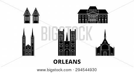 France, Orleans Flat Travel Skyline Set. France, Orleans Black City Vector Illustration, Symbol, Tra