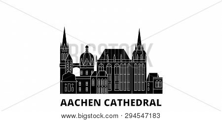 Germany, Aachen Cathedral Flat Travel Skyline Set. Germany, Aachen Cathedral Black City Vector Illus