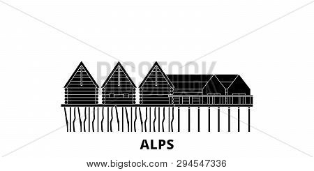 Germany, Alps, Prehistoric Pile Dwellings flat travel skyline set. Germany, Alps, Prehistoric Pile Dwellings black city vector illustration, symbol, travel sights, landmarks. poster