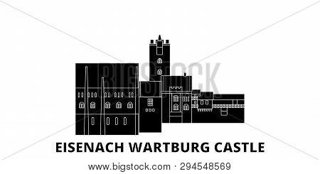Germany, Eisenach  Wartburg Castle Flat Travel Skyline Set. Germany, Eisenach  Wartburg Castle Black