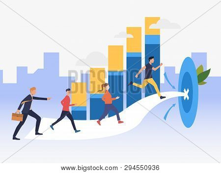 Workers Running To Target With Bar Chart In Background. Goal, Competition, Growth, Success Concept.