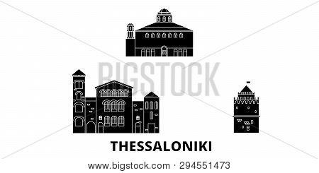 Greece, Thessaloniki Flat Travel Skyline Set. Greece, Thessaloniki Black City Vector Illustration, S