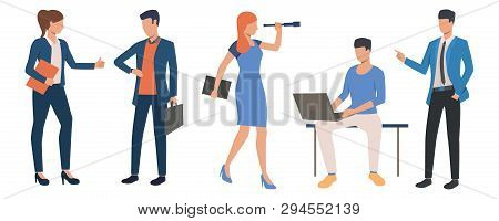 Set Of Coworkers In Different Situations. Office Clerks Busy With Work. Vector Illustration Can Be U