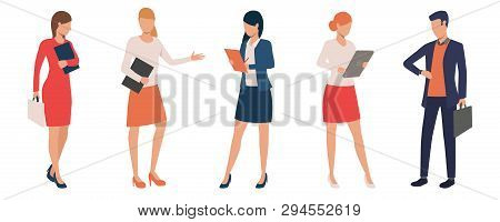 Set Of Office Clerks With Digital Tables. Male And Female Office Managers In Various Positions. Vect