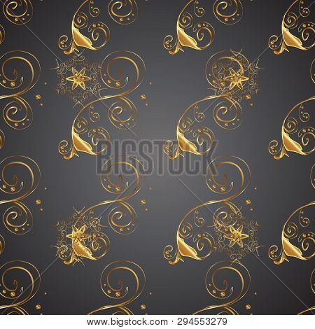 Gray And Brown Colors With Golden Elements. Seamless Golden Pattern. Gold Metal With Floral Pattern.