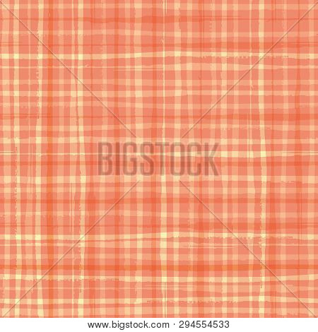 Vibrant Watercolour Effect Plaid Design In Hues Of Cantaloupe Orange. Seamless Vector Pattern. Hand