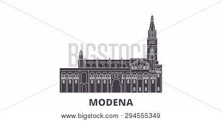 Italy, Modena Flat Travel Skyline Set. Italy, Modena Black City Vector Illustration, Symbol, Travel