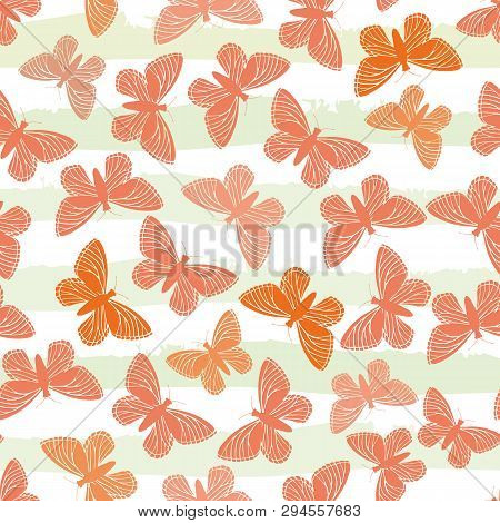Hand Drawn Butterflies In Hues Of Orange On Subtly Striped Green And White Water Colour Background.