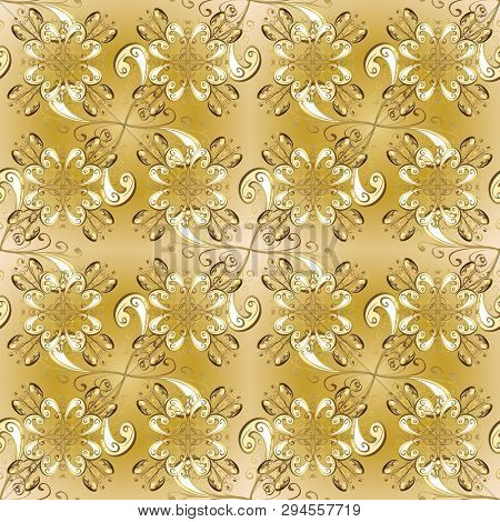 Gold Metal With Floral Pattern. Yellow And Beige Colors With Golden Elements. Seamless Golden Patter