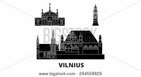 Lithuania, Vilnius Flat Travel Skyline Set. Lithuania, Vilnius Black City Vector Illustration, Symbo