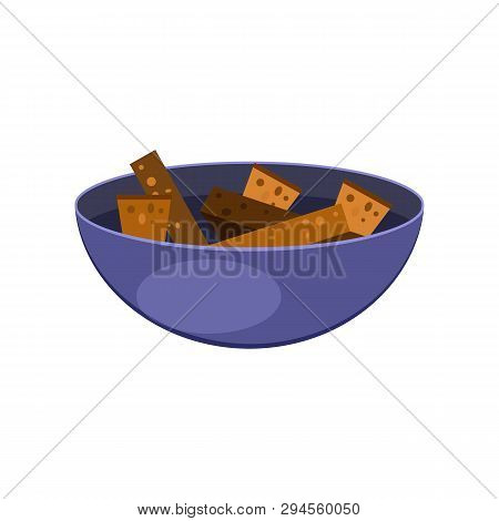Bowl With Dried Bread Pieces Flat Icon. Beer Snack, Appetizer, Crouton. Alcohol Concept. Vector Illu