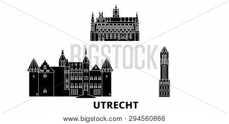 Netherlands, Utrecht Flat Travel Skyline Set. Netherlands, Utrecht Black City Vector Illustration, S