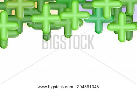 Green Pluses Or Crosses. Top Framing, Copy Space, Design Concept Background. Abstract Composition Ba