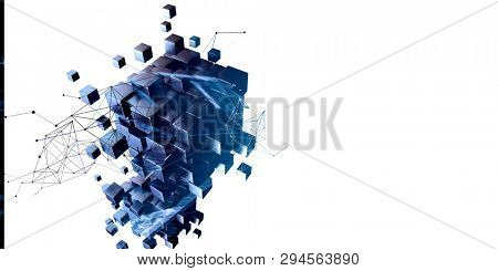 Blue abstract cubes and network diagram