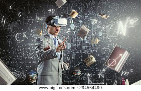 Virtual reality experience. Technologies of the future. Mixed media