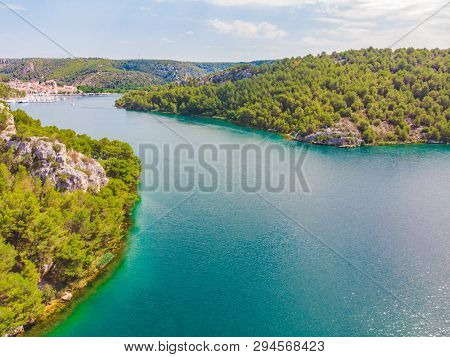 Landscape View Of Skradin Bay. Summer Time. Sunny Day