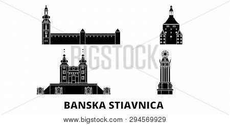 Slovakia, Banska Stiavnica Flat Travel Skyline Set. Slovakia, Banska Stiavnica Black City Vector Ill