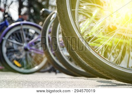 Bicycle Wheel In A Row Close-up Wheel Detail, Bicycle Spoke