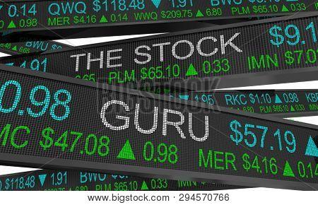 The Stock Guru Expert Trader Analyst Market Ticker 3d Illustration poster