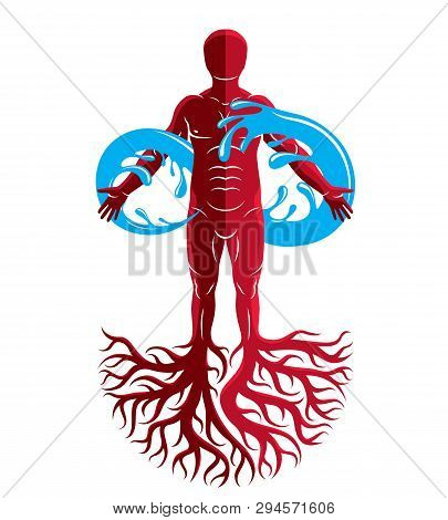 Vector Illustration Of Human Being, Strong Athlete With Tree Roots And Limitless Symbol Composed Fro