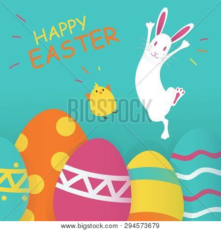 Happy Easter Blue Background. Vector Illustration. Spring Holiday Concept, Place For Text. Flat Icon