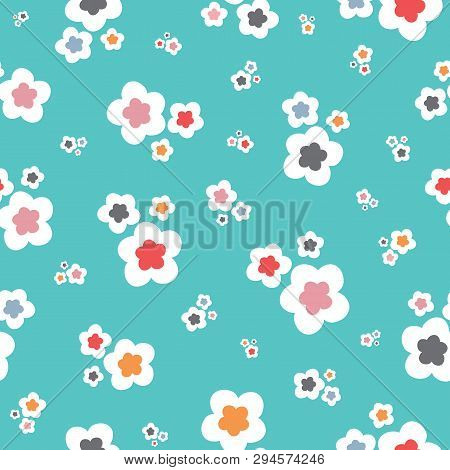 Bright Stylised Floral Pattern On A Turquoise Backround. A Cute Vector Tossed Repeat Pattern Ideal F