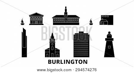 United States, Burlington Flat Travel Skyline Set. United States, Burlington Black City Vector Illus