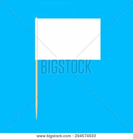 Wooden Toothpicks Flags Miniature Isolated On Blue Background, Toothpick Flags Rectangle Blank Or Wh