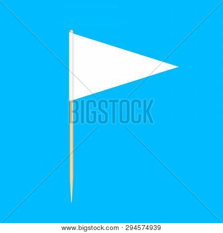 Wooden Toothpicks Flags Triangle Miniature Isolated On Blue Background, Toothpick Flags Triangle Bla