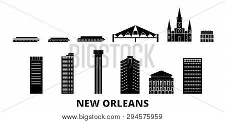 United States, New Orleans Flat Travel Skyline Set. United States, New Orleans Black City Vector Ill