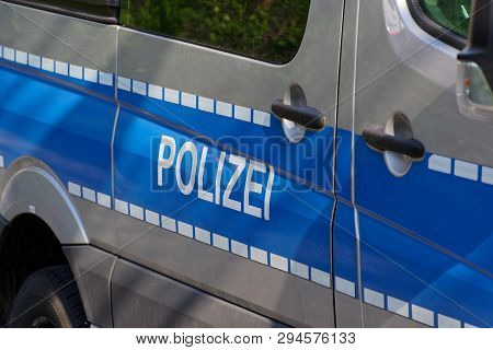 Side View Of A Typical German Police Car With Lettering
