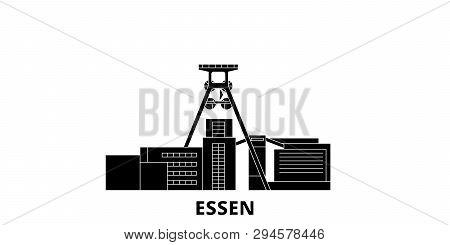 Germany, Essen, Zollverein Coal Mine Industrial Complex Flat Travel Skyline Set. Germany, Essen, Zol