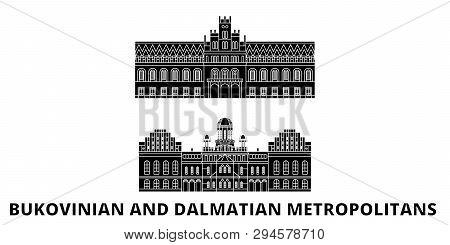 Ukraine, Bukovinian And Dalmatian Metropolitans Flat Travel Skyline Set. Ukraine, Bukovinian And Dal