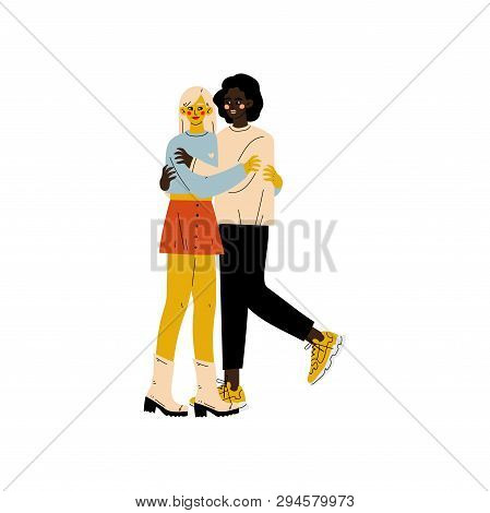 Happy Interracial Lesbian Couple, Two Hugging Women, Romantic Homosexual Relationship Vector Illustr