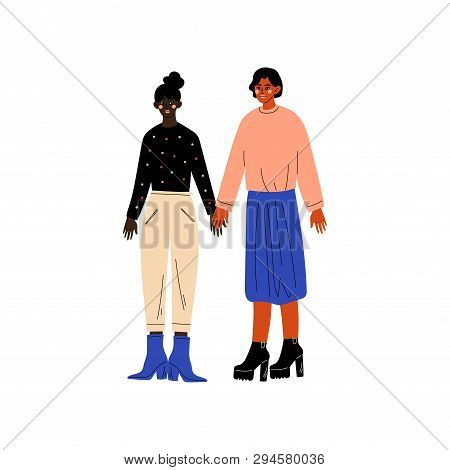 Happy Lesbian Couple, Two Women Holding Hands, Romantic Homosexual Relationship Vector Illustration