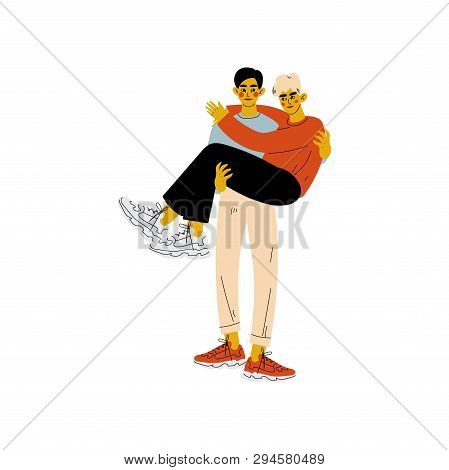 Happy Gay Male Couple, Man Holding His Lover In His Hands, Romantic Homosexual Relationship Vector I