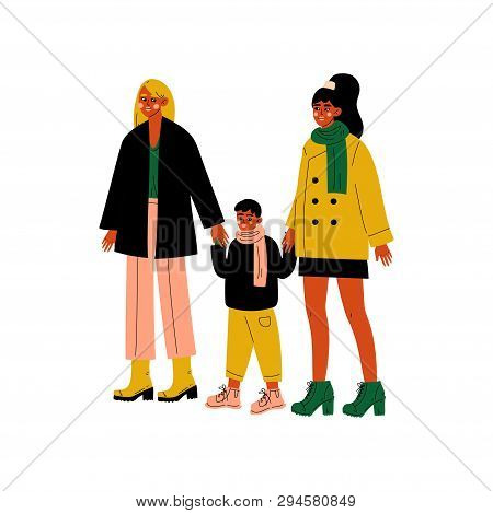 Lesbian Family, Two Women And Cute Boy Standing Together, Happy Homosexual Family With Kid Vector Il