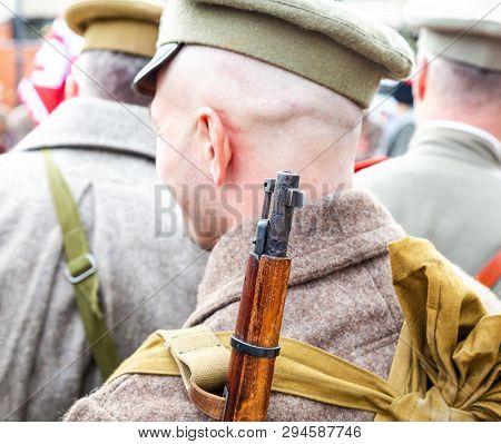 Samara, Russia - October 6, 2018: Unidentified Member Of Historical Reenactment Battle In Army Unifo