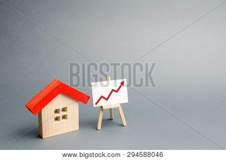 Wooden House And Stand With Red Arrow Up. Growing Demand For Housing And Real Estate. The Growth Of