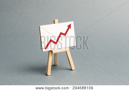 Rack With A Red Arrow Up. Business Planning And Revenue Analysis. Indicators Of Business Projects, L