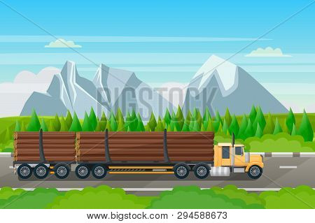 Forestry Transportation Industry, Vector Flat Illustration. Logging Truck With Wood Timber Rides On