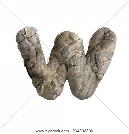 Rock letter W - Lower-case 3d boulder font isolated on white background. This alphabet is perfect for creative illustrations related but not limited to nature, ecology, environment...