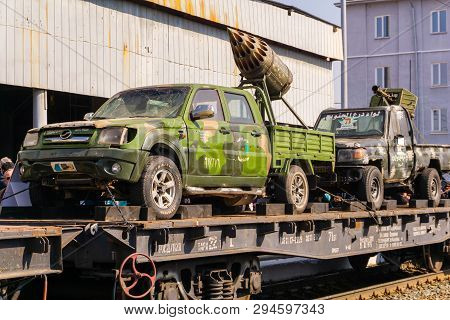 Perm, Russia - April 10, 1019: Improvised Gun Trucks Of Isis Militants Seized As A Trophy By The Rus