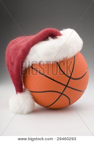 Basketball with Santa Hat