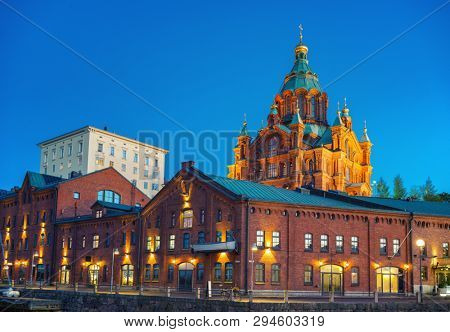 Nightview of Uspenski Cathedral in Helsinki, Finland